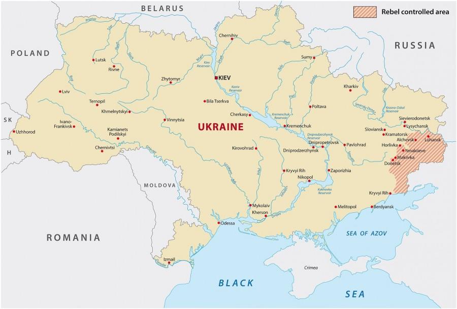 Donbas na mapě Ukrajiny (vpravo)