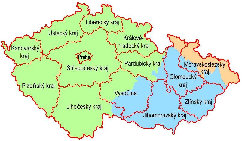Morava v hranicích dnešních krajů